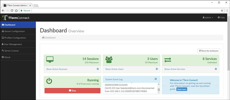 TTerm Connect's administrator dashboard.